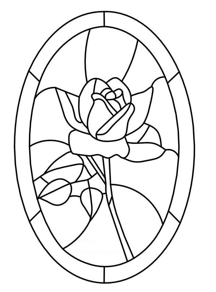 Desenhos de Vitral - rosa para colorir
