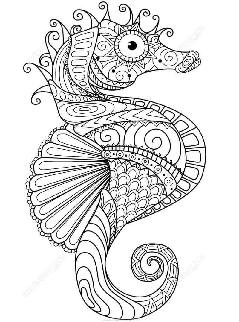 Desenhos de Zentangle Cavalo-marinho para colorir
