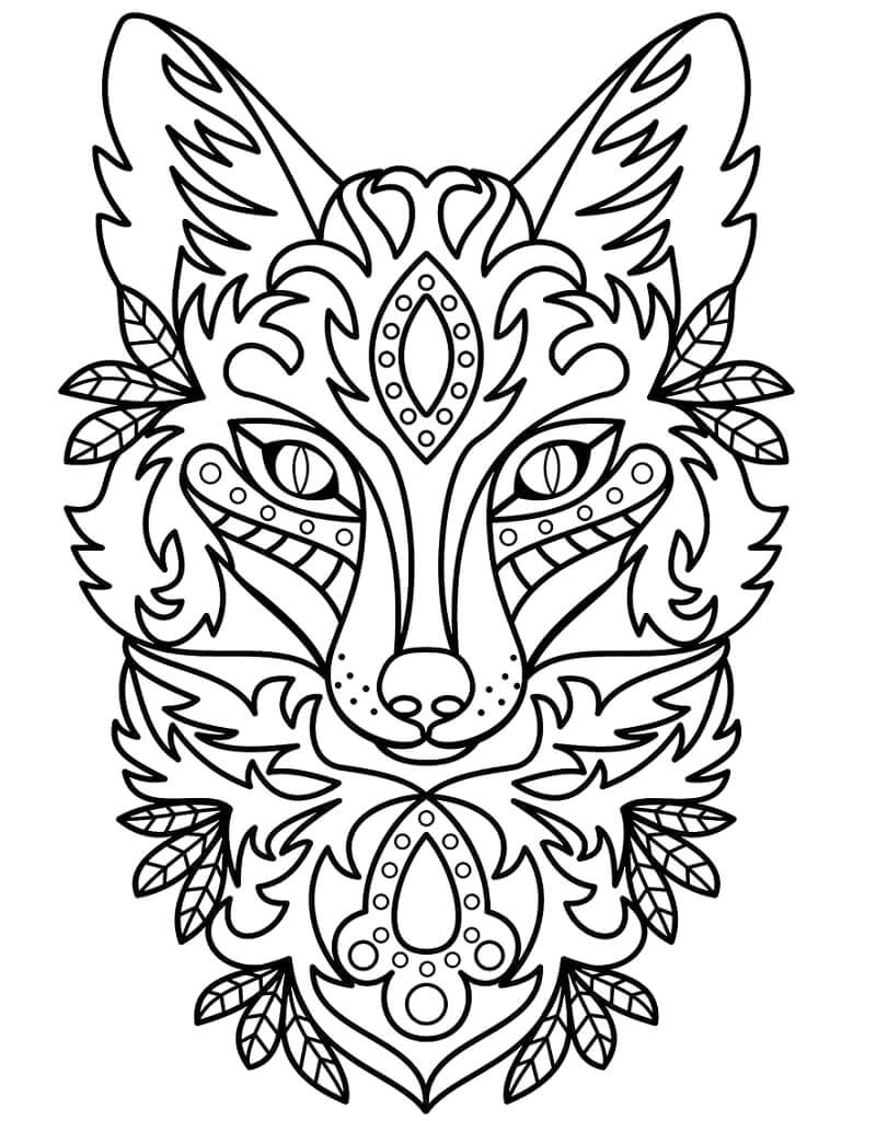 Desenhos de Zentangle - cabeça de raposa para colorir