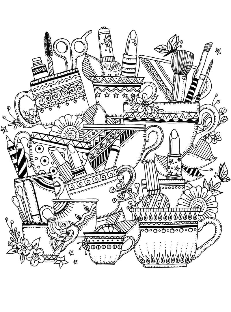 Desenhos de Zentangle com Chávenas para colorir