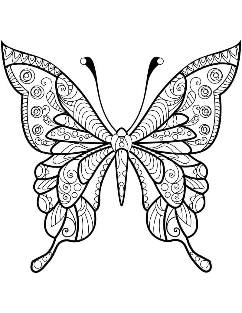 Desenhos de Zentangle de Borboleta para colorir