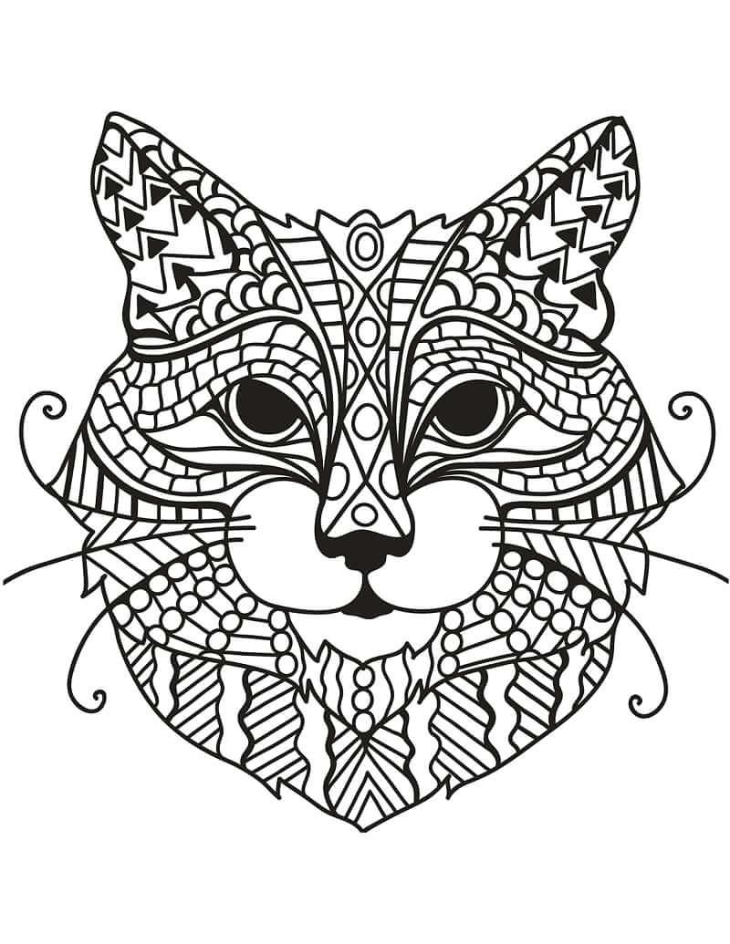 Desenhos de Zentangle de Cabeça de Gato para colorir