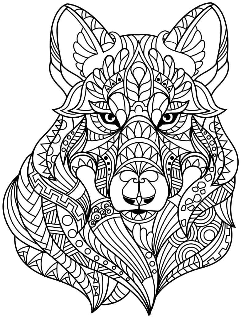 Desenhos de Zentangle de Cabeça de Lobo para colorir