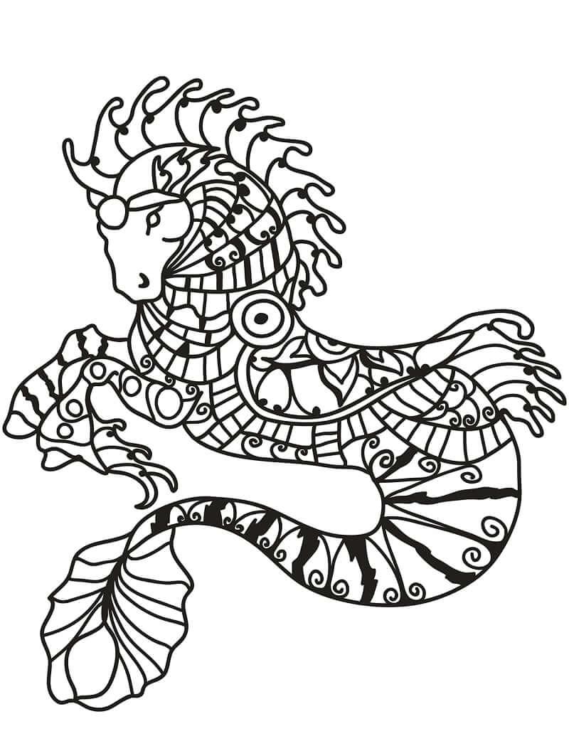 Desenhos de Zentangle de Cavalo-marinho para colorir