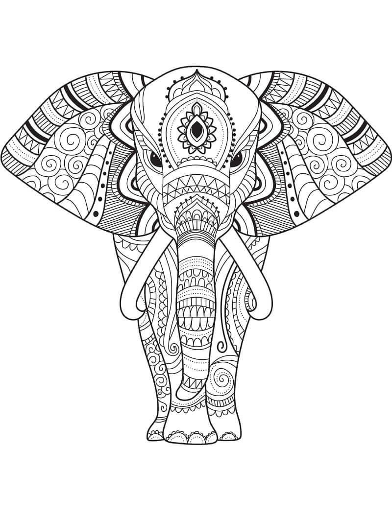 Desenhos de Zentangle de Elefante para colorir