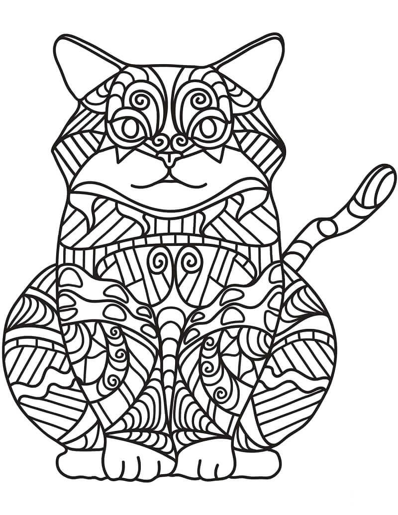 Desenhos de Zentangle de Gato Sentado para colorir