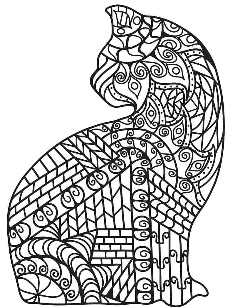 Desenhos de Zentangle de Gato para colorir