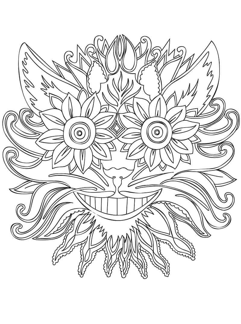 Desenhos de Zentangle de Gato risonho para colorir