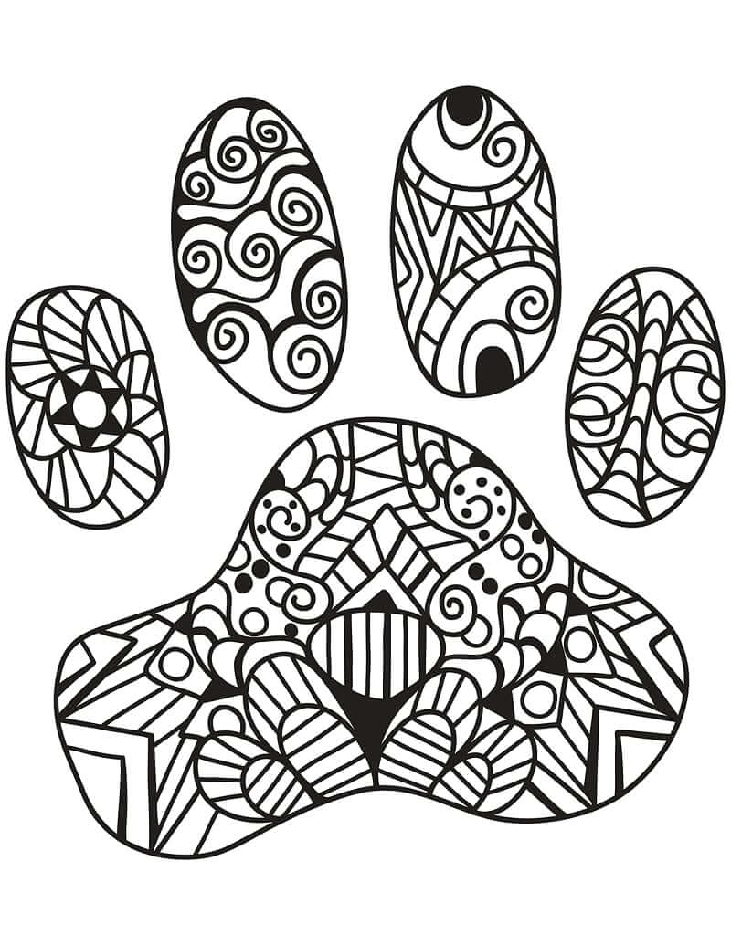 Desenhos de Zentangle de Impressão de Pata de Gato para colorir