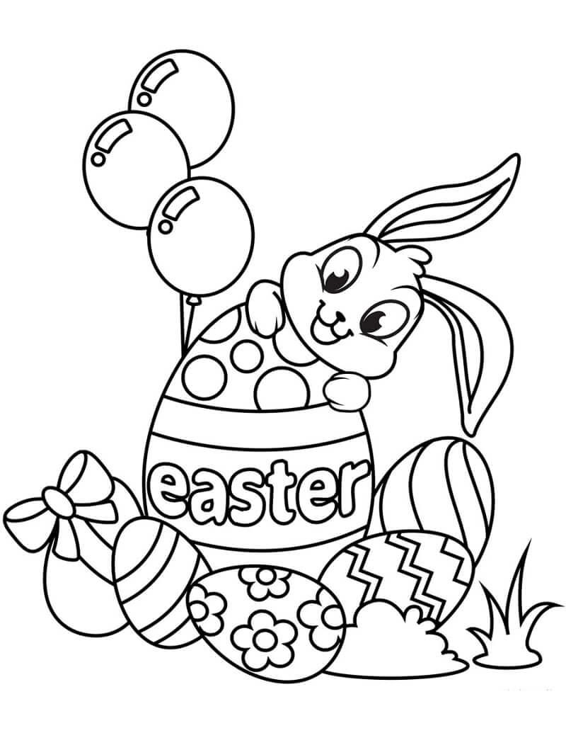 Desenhos de coelho da Páscoa e Ovos para colorir