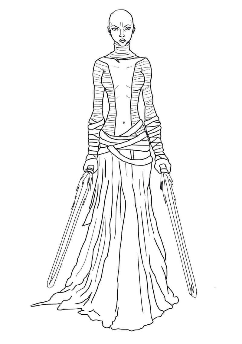 Desenhos de Asajj Ventress do Guerra nas Estrelas para colorir