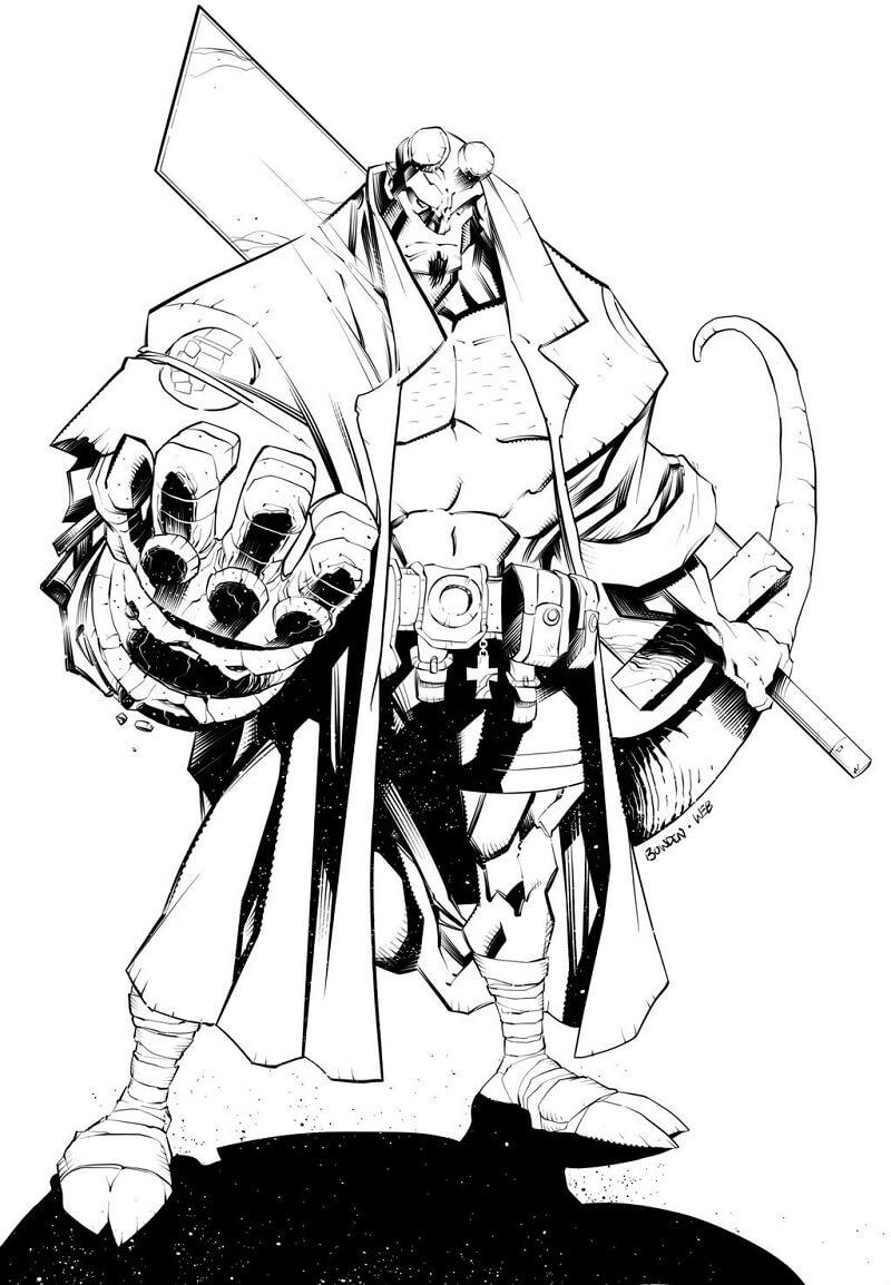 Desenhos de Forte Rapaz do inferno 5 para colorir