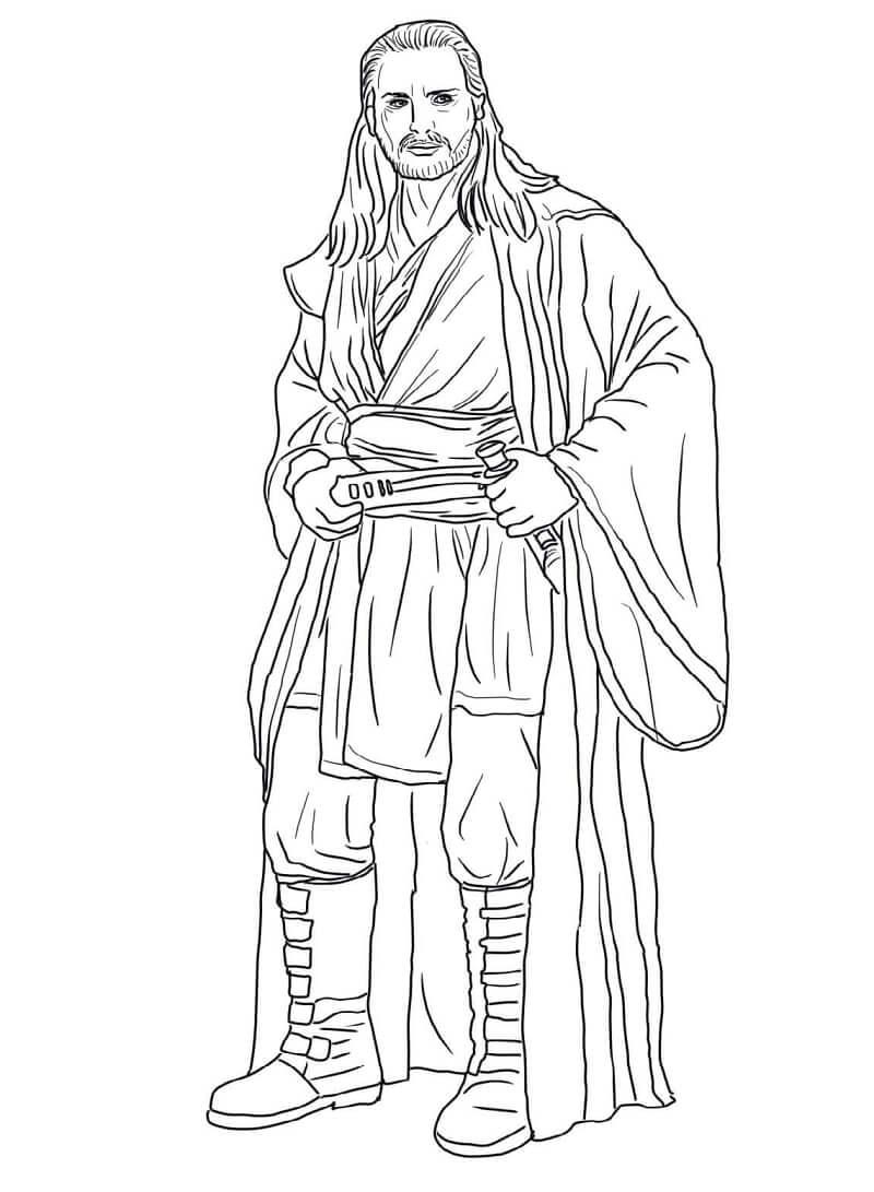 Desenhos de Qui Gon Jinn do Guerra nas Estrelas para colorir