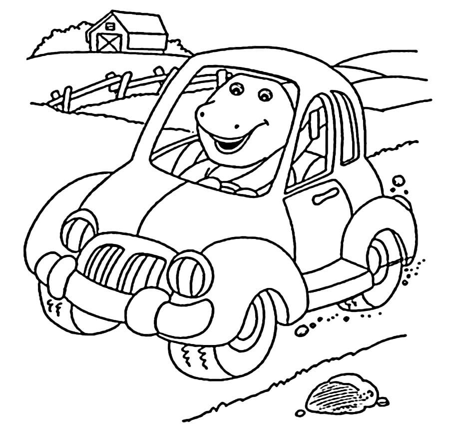 Desenhos de Barney Dirigindo Carro para colorir