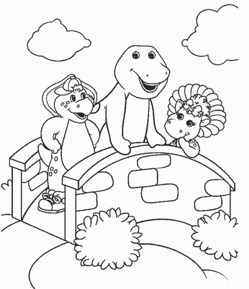 Desenhos de Barney com Baby Bop e BJ para colorir