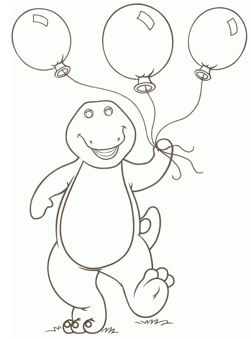 Desenhos de Barney com Balões para colorir
