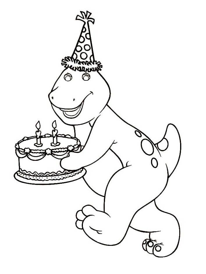 Desenhos de Barney com bolo de aniversário para colorir