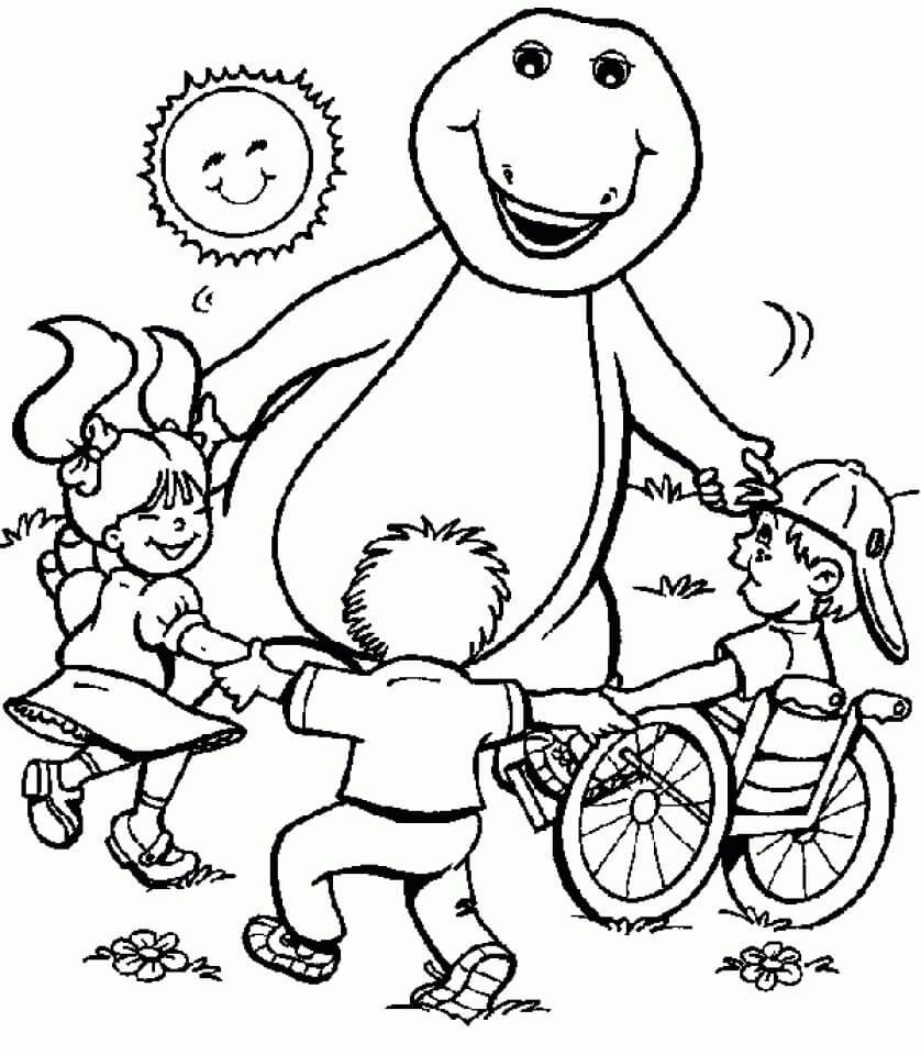 Desenhos de Barney com crianças para colorir