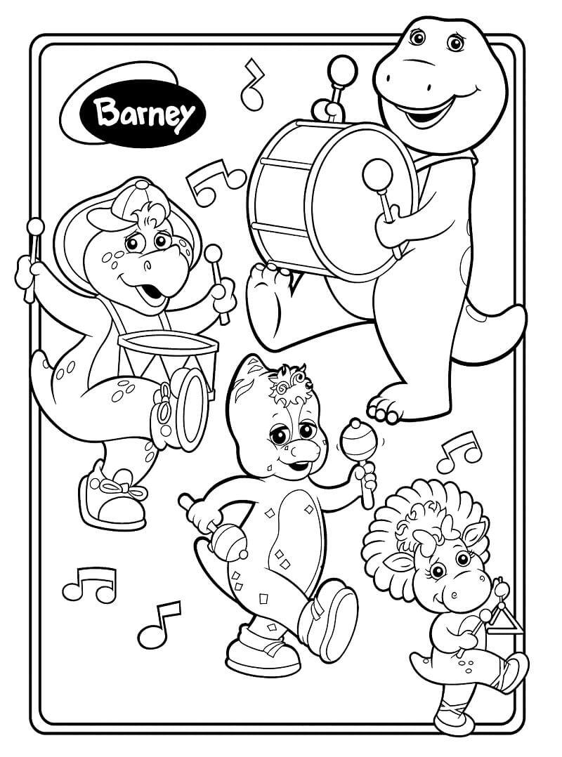 Desenhos de Barney com seus amigos para colorir