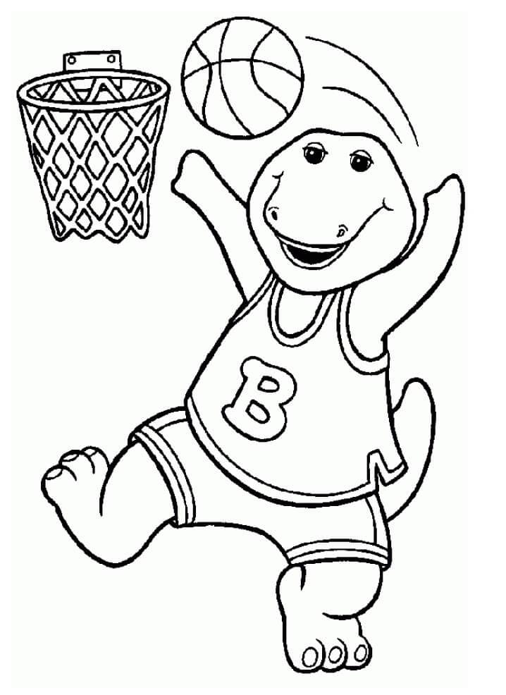 Desenhos de Barney jogando Basquete para colorir