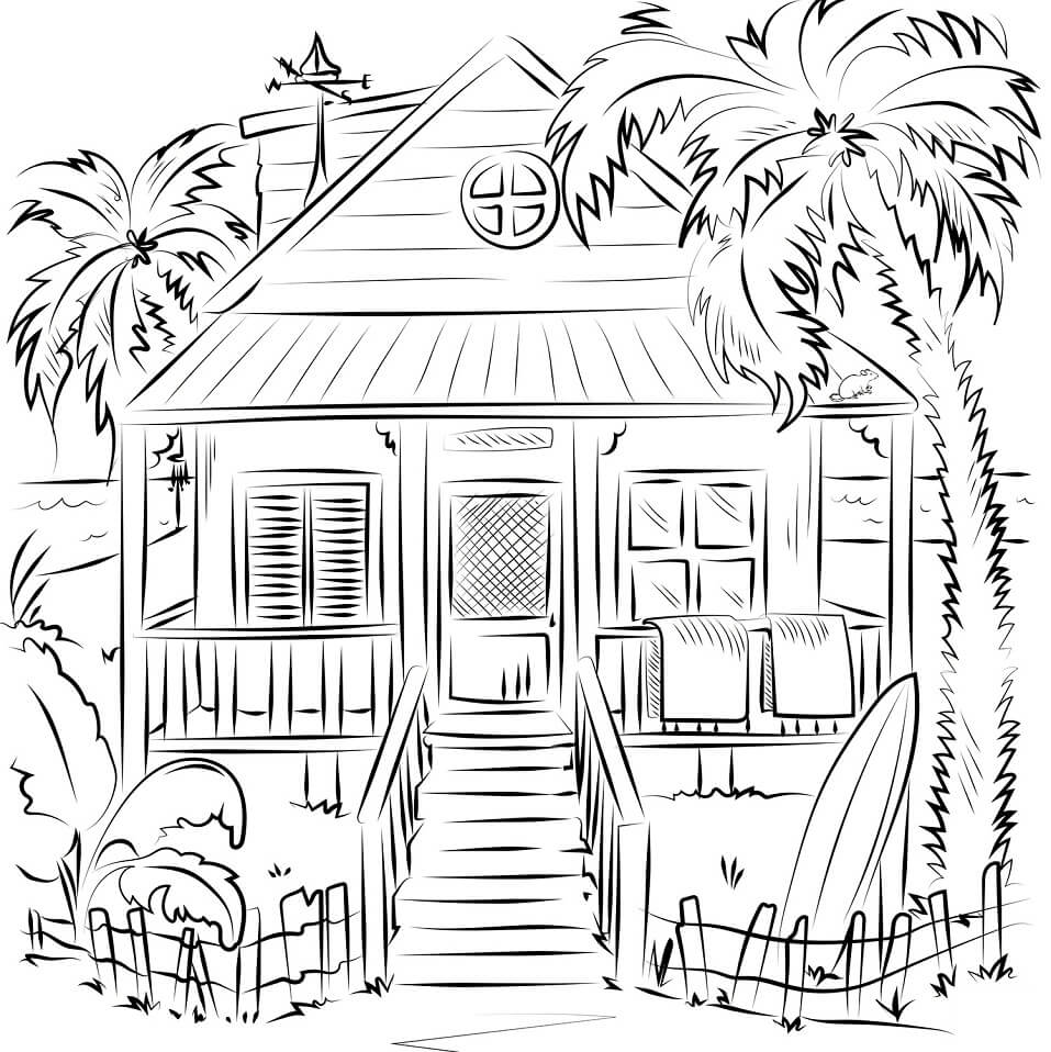 Desenhos de Casa de Praia para colorir
