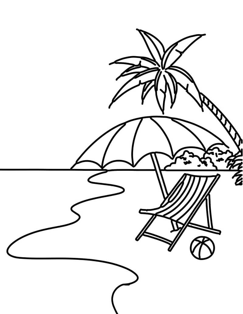 Desenhos de Cena de Praia 1 para colorir
