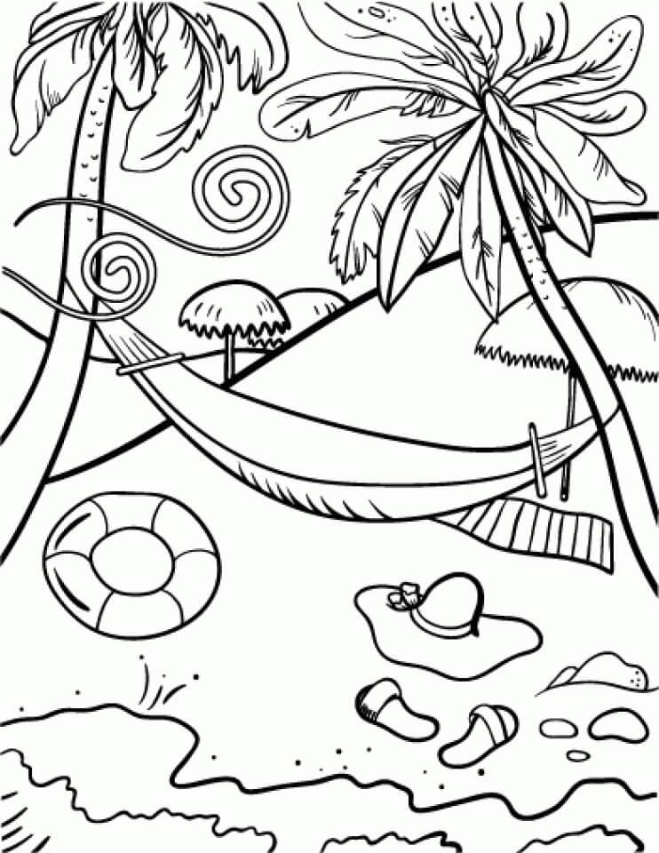 Desenhos de Cena de Praia 4 para colorir