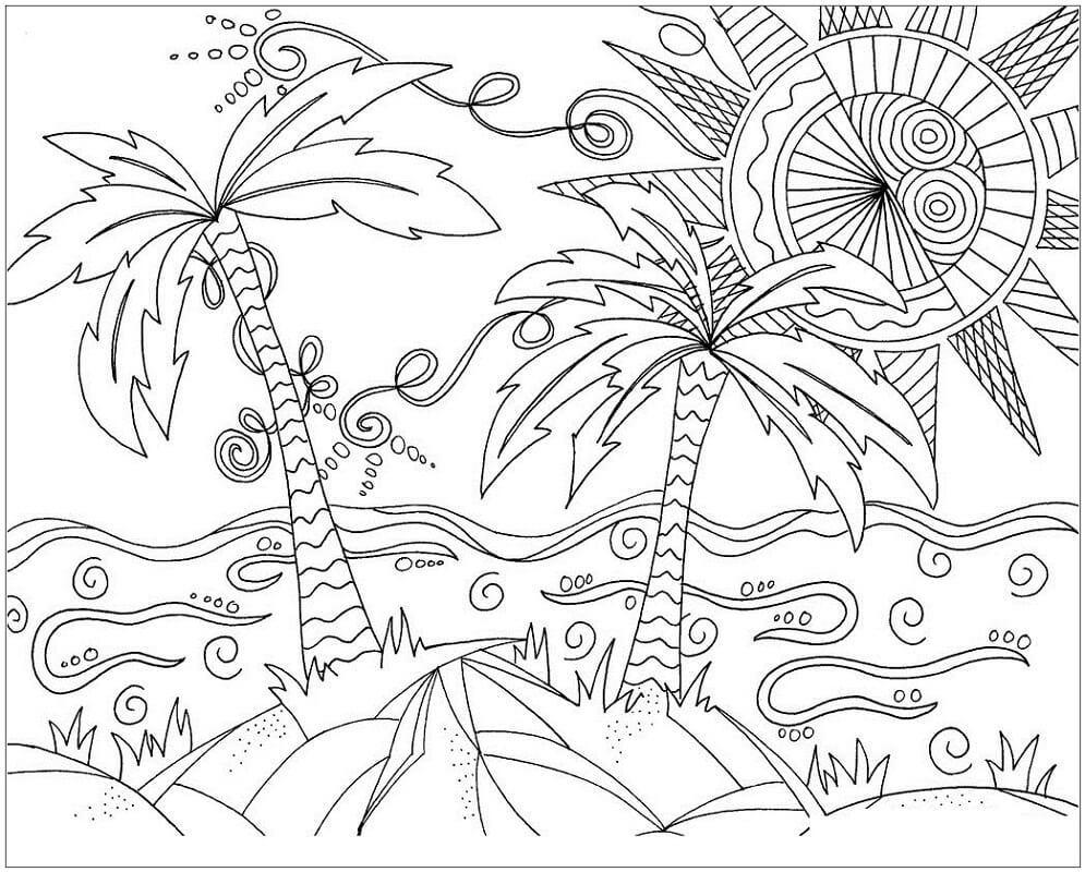 Desenhos de Cena de Praia 5 para colorir