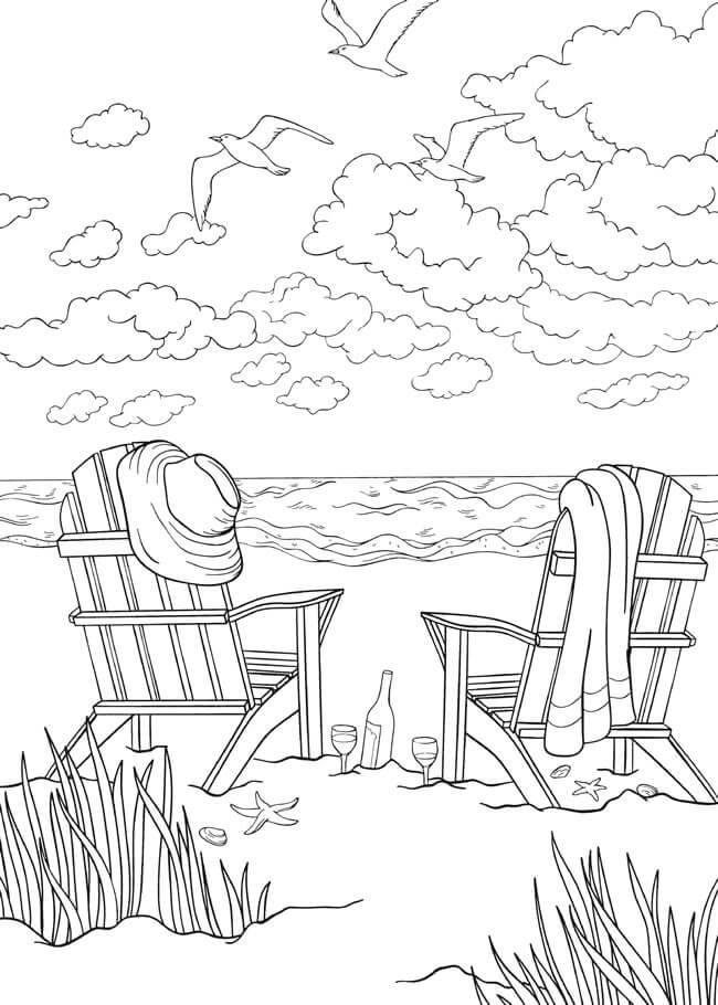 Desenhos de Cena de Praia 8 para colorir