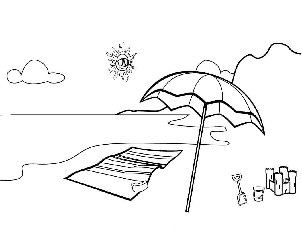 Desenhos de Cena de Praia para colorir