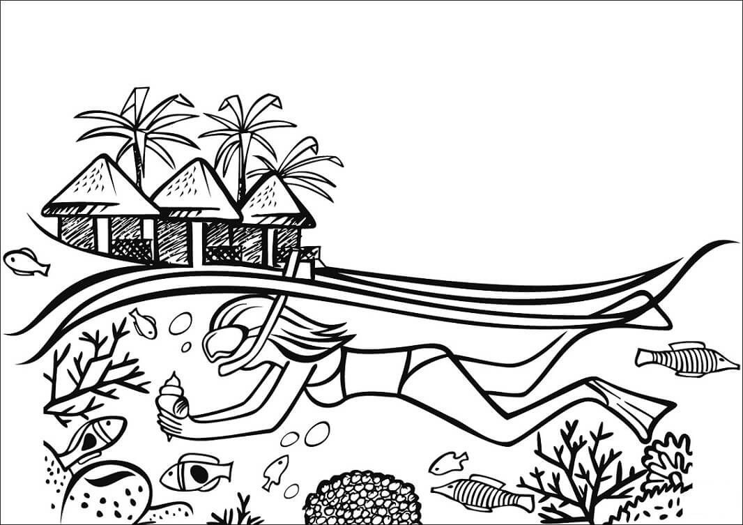 Desenhos de Rapariga a fazer mergulho nas Maldivas para colorir