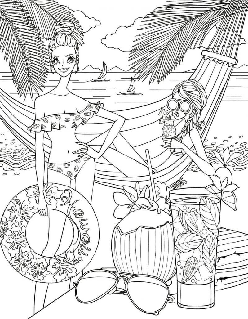 Desenhos de Senhoras na Praia para colorir