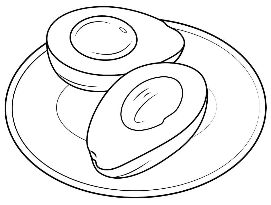 Desenhos de Abacate em um prato para colorir