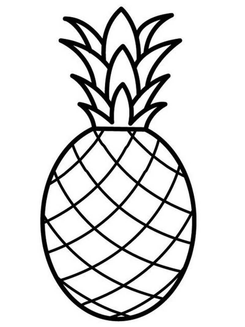 Desenhos de Fruta Abacaxi 10 para colorir