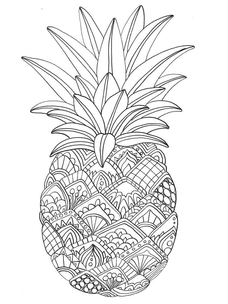 Desenhos de Fruta Abacaxi 5 para colorir