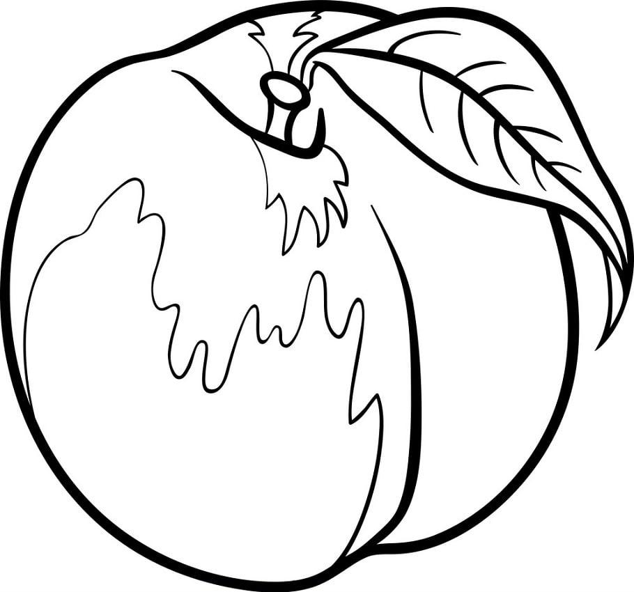 Desenhos de Fruta Pêssego 9 para colorir