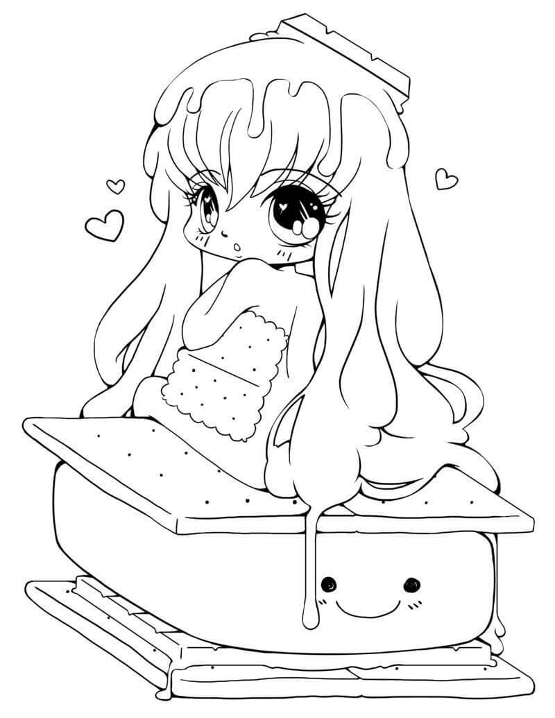 Desenhos de Menina Kawaii 11 para colorir