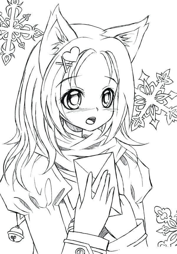 Desenhos de Menina Kawaii 16 para colorir