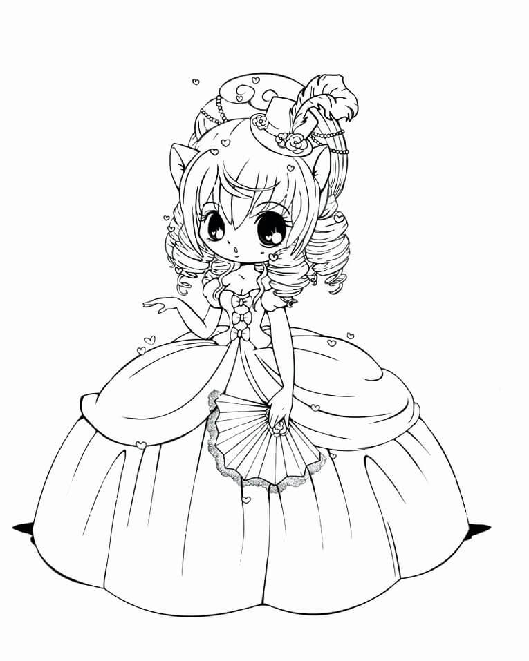 Desenhos de Menina Kawaii 8 para colorir