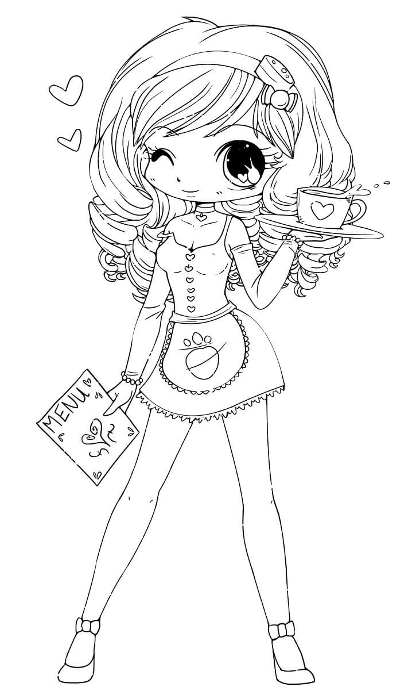 Desenhos de Menina Kawaii 9 para colorir