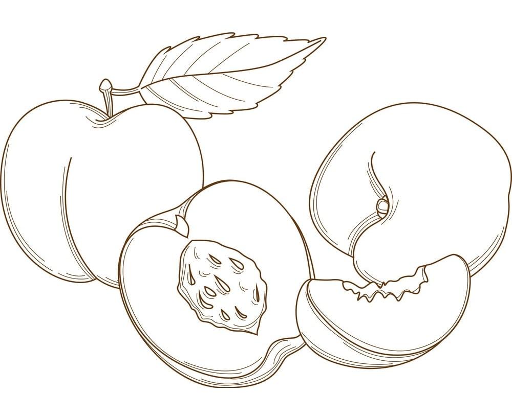 Desenhos de Pêssegos 4 para colorir