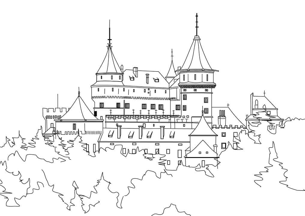 Desenhos de Belo Castelo 3 para colorir