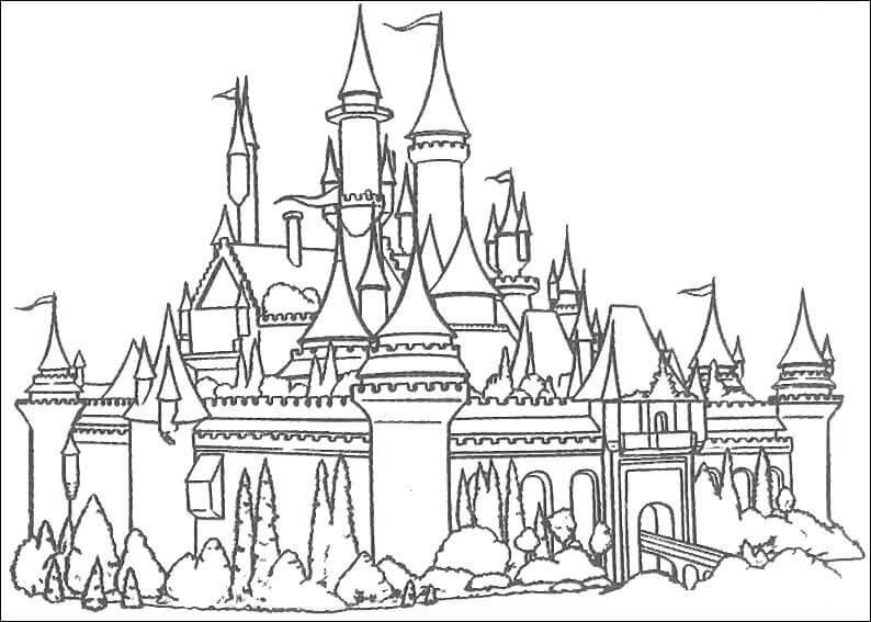 Desenhos de Castelo de Conto de Fadas para colorir