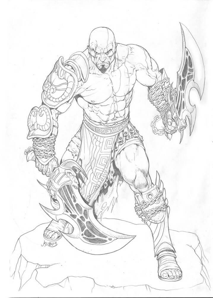Desenhos de Kratos Lutando 2 para colorir