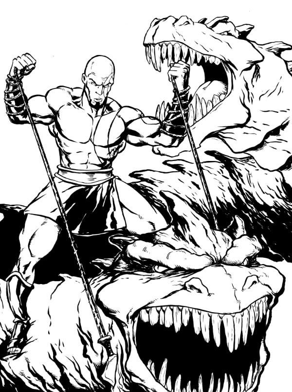 Desenhos de Kratos Lutando 3 para colorir