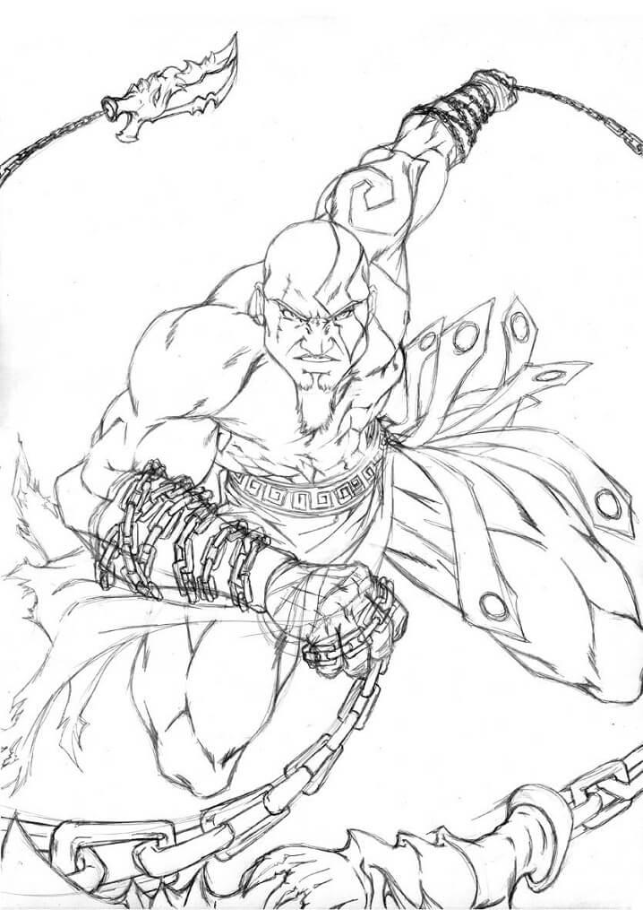 Desenhos de Kratos Lutando para colorir