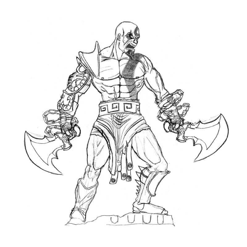 Desenhos de Kratos Zangado 1 para colorir
