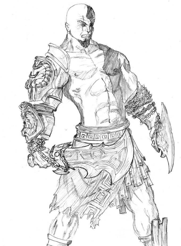 Desenhos de Kratos Zangado 2 para colorir