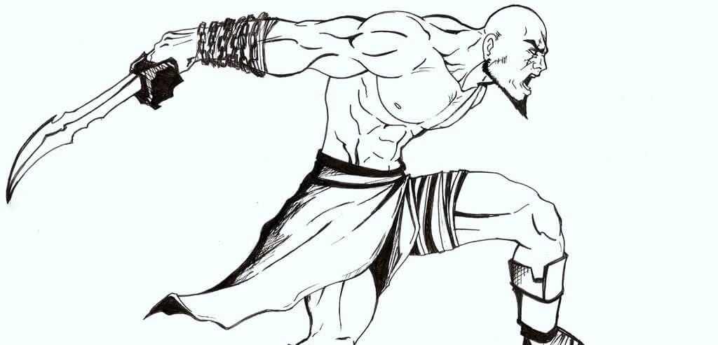 Desenhos de Kratos Zangado 3 para colorir