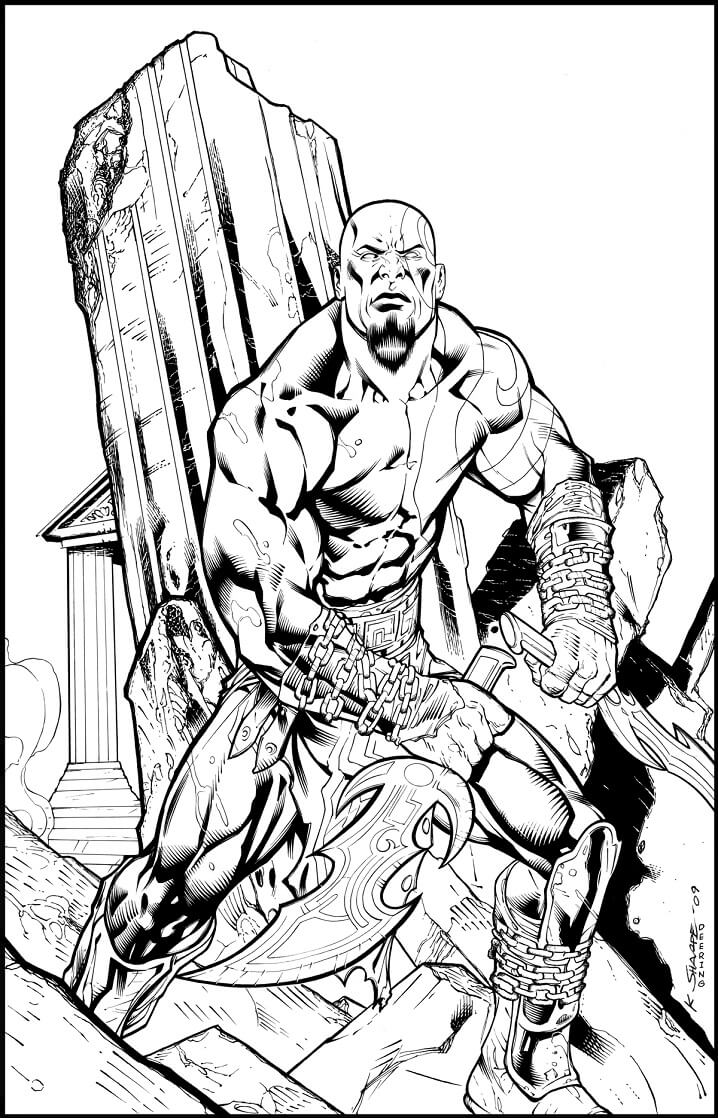 Desenhos de Kratos Zangado para colorir